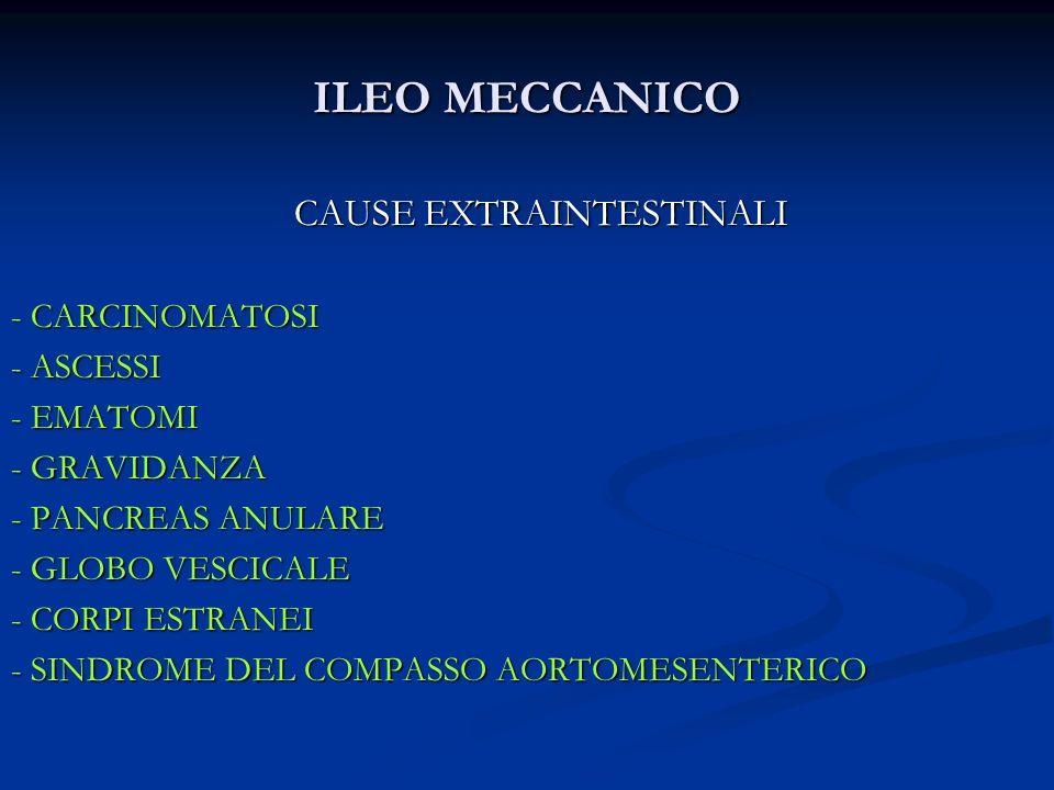 ILEO MECCANICO CAUSE EXTRAINTESTINALI - CARCINOMATOSI - ASCESSI - EMATOMI - GRAVIDANZA - PANCREAS ANULARE - GLOBO VESCICALE - CORPI ESTRANEI - SINDROM