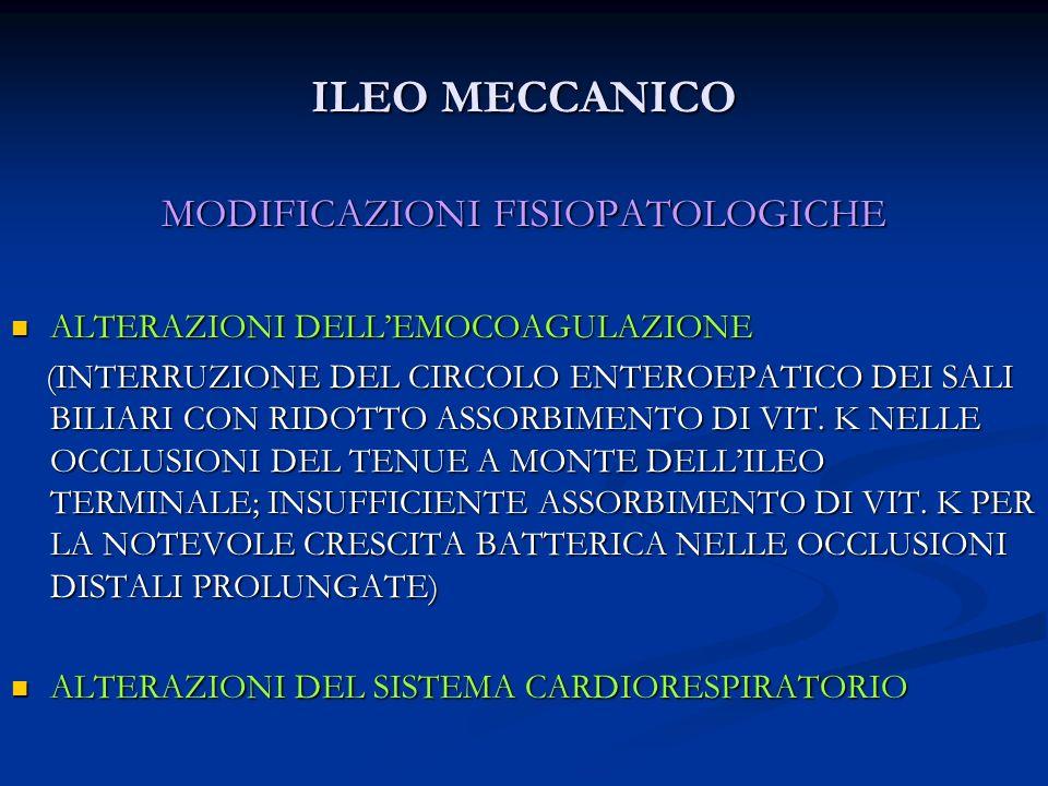 ILEO MECCANICO MODIFICAZIONI FISIOPATOLOGICHE ALTERAZIONI DELLEMOCOAGULAZIONE ALTERAZIONI DELLEMOCOAGULAZIONE (INTERRUZIONE DEL CIRCOLO ENTEROEPATICO