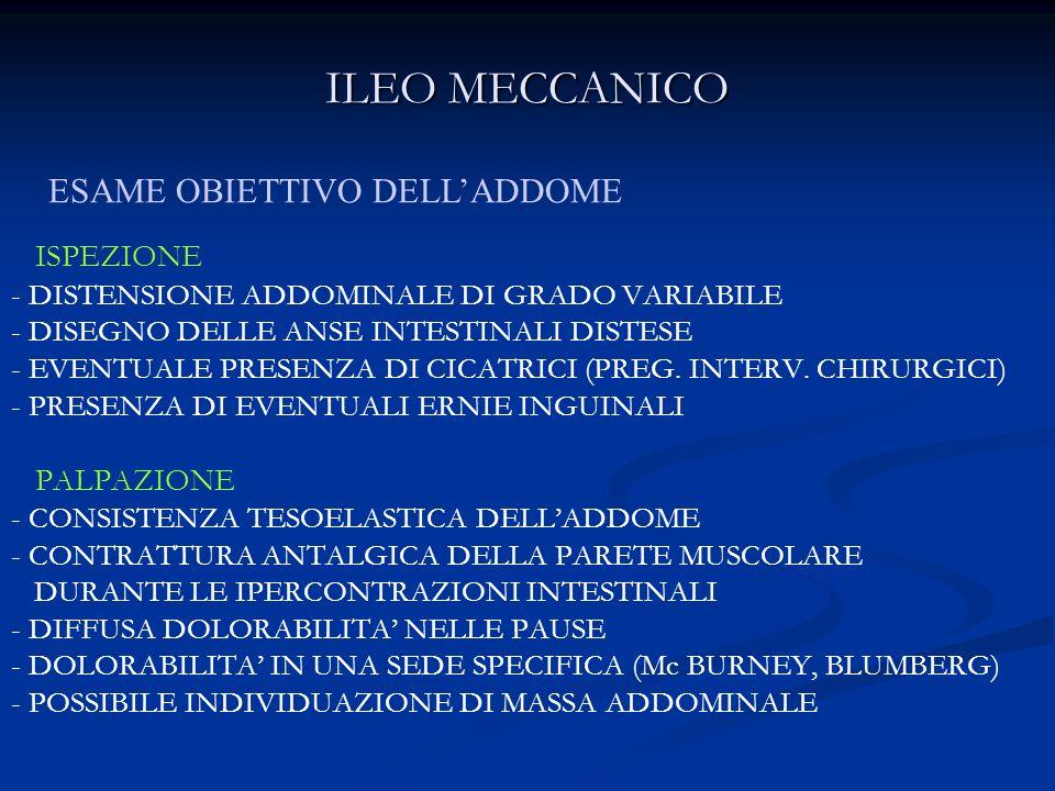 ILEO MECCANICO ISPEZIONE - DISTENSIONE ADDOMINALE DI GRADO VARIABILE - DISEGNO DELLE ANSE INTESTINALI DISTESE - EVENTUALE PRESENZA DI CICATRICI (PREG.