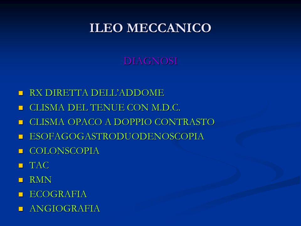 ILEO MECCANICO DIAGNOSI RX DIRETTA DELLADDOME RX DIRETTA DELLADDOME CLISMA DEL TENUE CON M.D.C. CLISMA DEL TENUE CON M.D.C. CLISMA OPACO A DOPPIO CONT