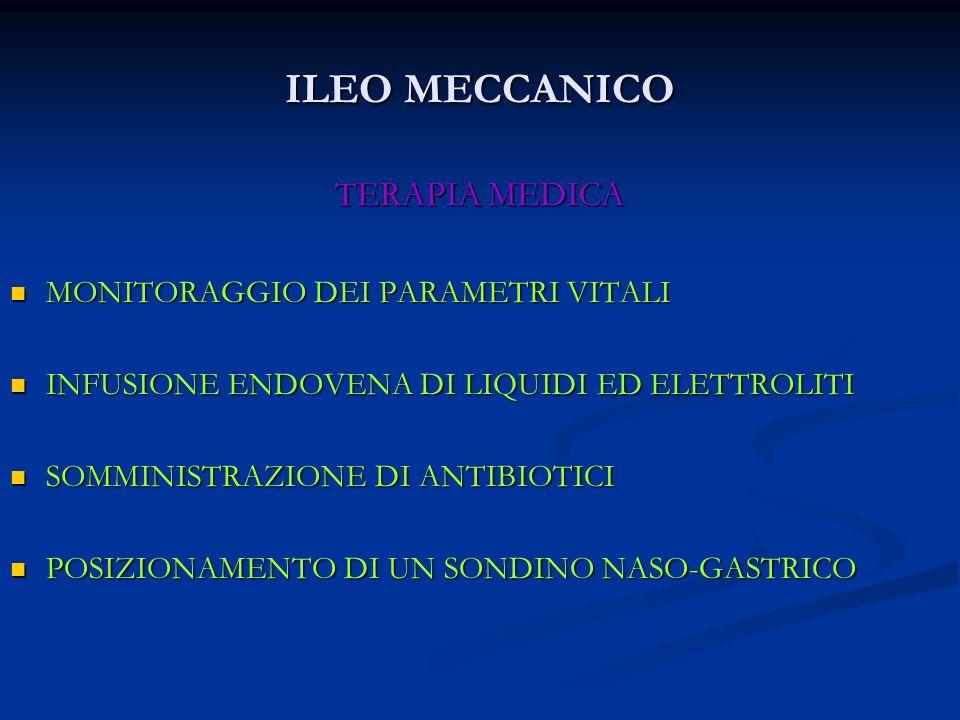 ILEO MECCANICO TERAPIA MEDICA MONITORAGGIO DEI PARAMETRI VITALI MONITORAGGIO DEI PARAMETRI VITALI INFUSIONE ENDOVENA DI LIQUIDI ED ELETTROLITI INFUSIO