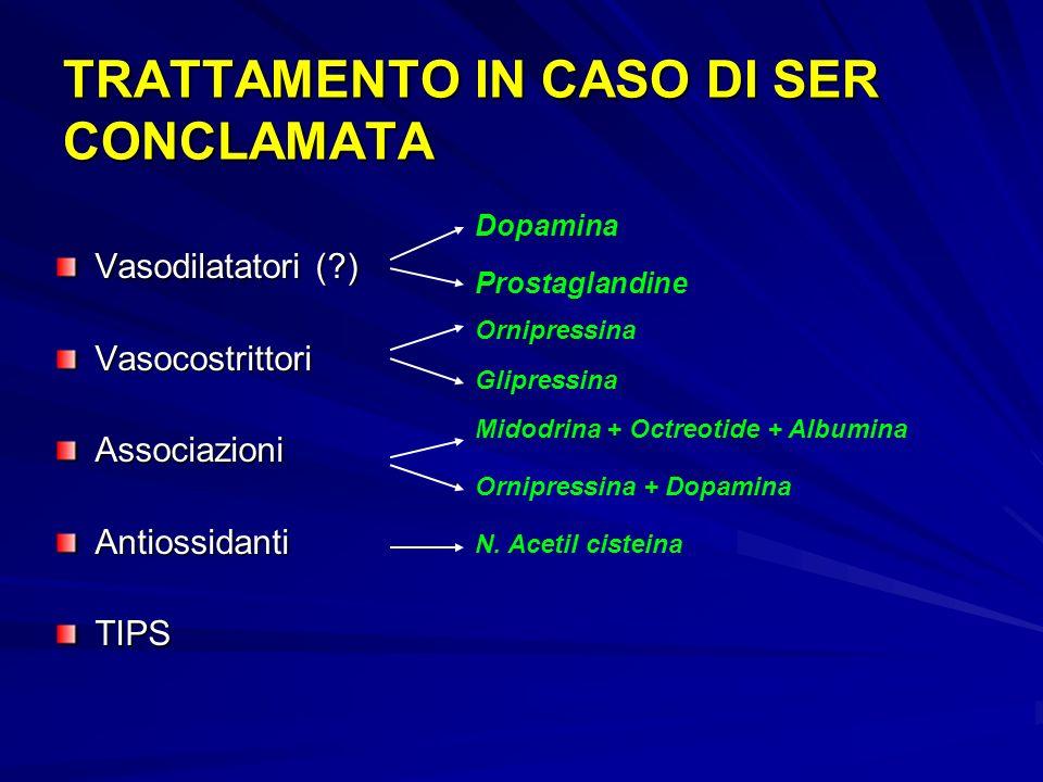 TRATTAMENTO IN CASO DI SER CONCLAMATA Vasodilatatori (?) Vasocostrittori Associazioni Antiossidanti TIPS Dopamina Prostaglandine Ornipressina Glipressina Midodrina + Octreotide + Albumina Ornipressina + Dopamina N.
