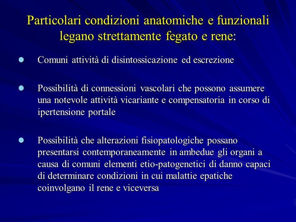 MECCANISMO PATOGENETICO Grave epatopatia o cirrosi Ipertensione portale Vasodilatazione arteriosa splacnica ++ Ipovolemia arteriosa centrale Attivazione di:SNS, SRAA, ADH Vasocostrizione renale Intrarenale Vasocostrittori:trombossano A2, Endotelina-1, Adenosina-2, endotossine di orogine batterica; Vasodilatatori: PGE2, PGI2, NO, Sistema Callicreine-Chinine VASOSTRIZIONE RENALE SER