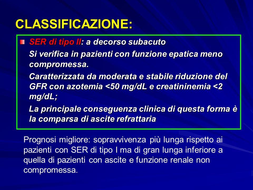 CLASSIFICAZIONE: SER di tipo II: a decorso subacuto Si verifica in pazienti con funzione epatica meno compromessa.