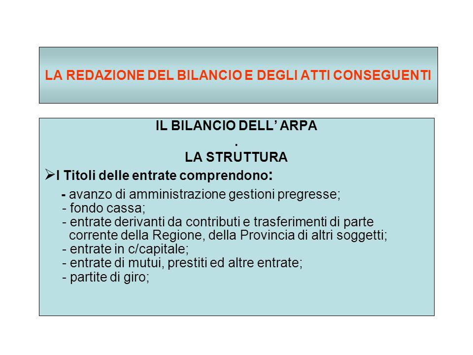 LA REDAZIONE DEL BILANCIO E DEGLI ATTI CONSEGUENTI IL BILANCIO DELL ARPA.