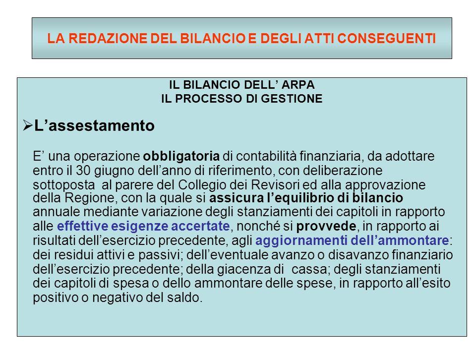 LA REDAZIONE DEL BILANCIO E DEGLI ATTI CONSEGUENTI IL BILANCIO DELL ARPA IL PROCESSO DI GESTIONE Lassestamento E una operazione obbligatoria di contabilità finanziaria, da adottare entro il 30 giugno dellanno di riferimento, con deliberazione sottoposta al parere del Collegio dei Revisori ed alla approvazione della Regione, con la quale si assicura lequilibrio di bilancio annuale mediante variazione degli stanziamenti dei capitoli in rapporto alle effettive esigenze accertate, nonché si provvede, in rapporto ai risultati dellesercizio precedente, agli aggiornamenti dellammontare: dei residui attivi e passivi; delleventuale avanzo o disavanzo finanziario dellesercizio precedente; della giacenza di cassa; degli stanziamenti dei capitoli di spesa o dello ammontare delle spese, in rapporto allesito positivo o negativo del saldo.