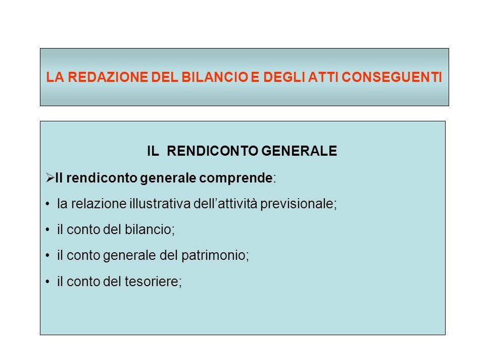 LA REDAZIONE DEL BILANCIO E DEGLI ATTI CONSEGUENTI IL RENDICONTO GENERALE Il rendiconto generale comprende: la relazione illustrativa dellattività previsionale; il conto del bilancio; il conto generale del patrimonio; il conto del tesoriere;