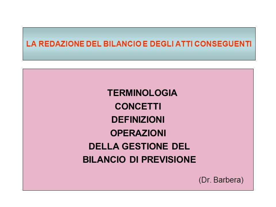 LA REDAZIONE DEL BILANCIO E DEGLI ATTI CONSEGUENTI TERMINOLOGIA CONCETTI DEFINIZIONI OPERAZIONI DELLA GESTIONE DEL BILANCIO DI PREVISIONE (Dr.