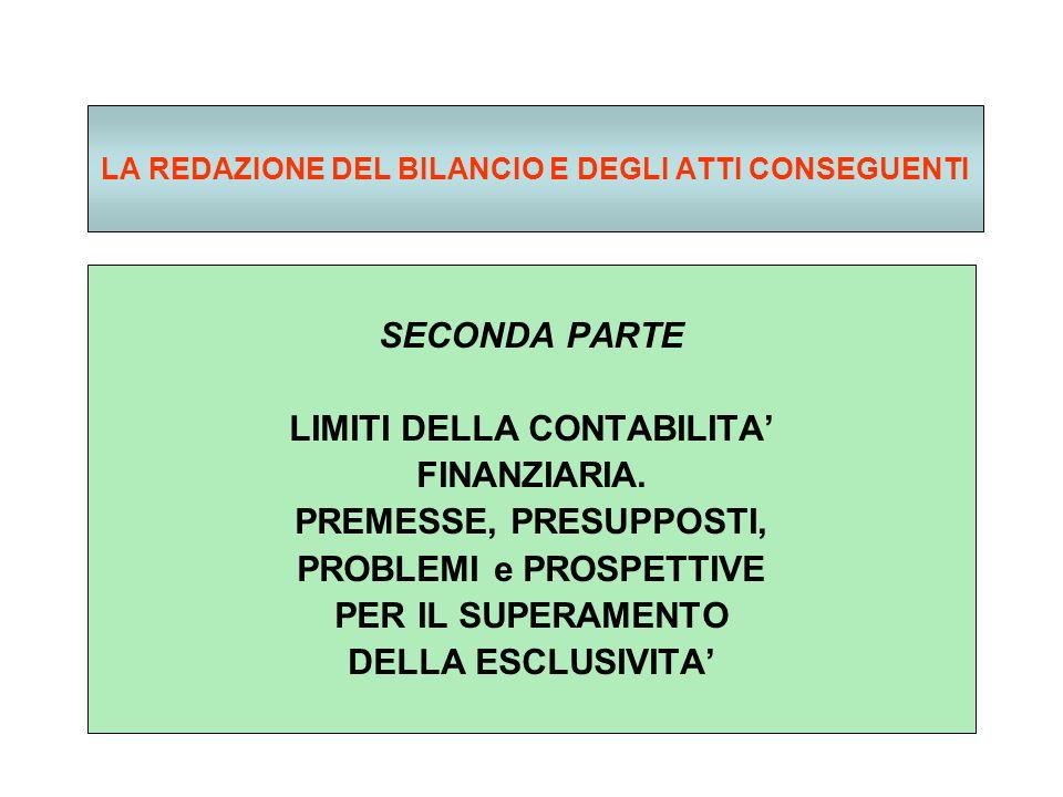 LA REDAZIONE DEL BILANCIO E DEGLI ATTI CONSEGUENTI SECONDA PARTE LIMITI DELLA CONTABILITA FINANZIARIA.