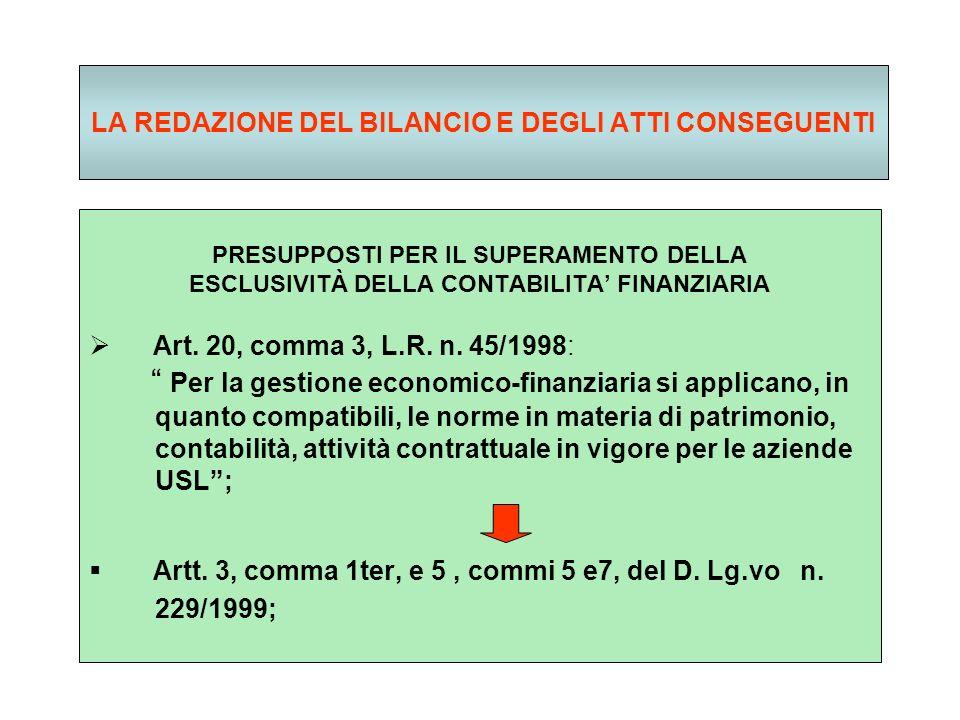 LA REDAZIONE DEL BILANCIO E DEGLI ATTI CONSEGUENTI PRESUPPOSTI PER IL SUPERAMENTO DELLA ESCLUSIVITÀ DELLA CONTABILITA FINANZIARIA Art.