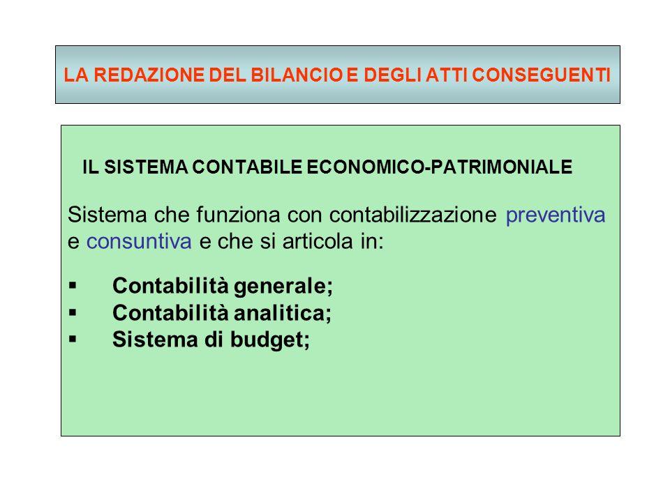 LA REDAZIONE DEL BILANCIO E DEGLI ATTI CONSEGUENTI IL SISTEMA CONTABILE ECONOMICO-PATRIMONIALE Sistema che funziona con contabilizzazione preventiva e consuntiva e che si articola in: Contabilità generale; Contabilità analitica; Sistema di budget;