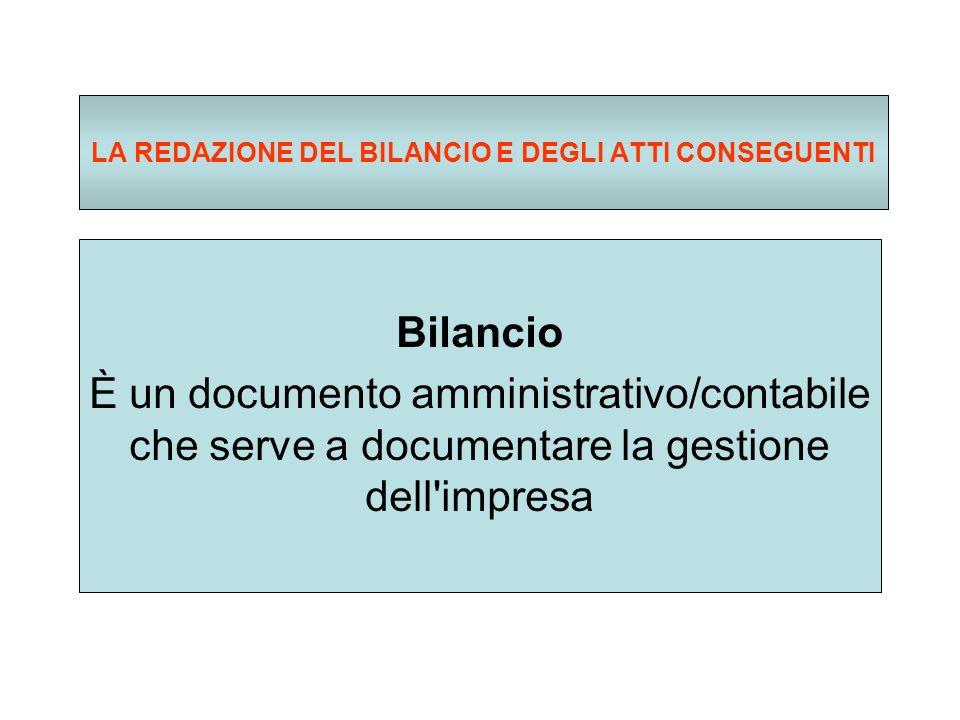 LA REDAZIONE DEL BILANCIO E DEGLI ATTI CONSEGUENTI Bilancio È un documento amministrativo/contabile che serve a documentare la gestione dell impresa