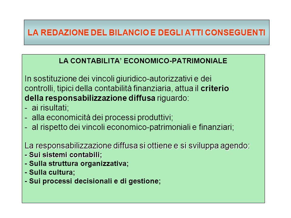LA REDAZIONE DEL BILANCIO E DEGLI ATTI CONSEGUENTI LA CONTABILITA ECONOMICO-PATRIMONIALE In sostituzione dei vincoli giuridico-autorizzativi e dei controlli, tipici della contabilità finanziaria, attua il criterio della responsabilizzazione diffusa riguardo: - ai risultati; - alla economicità dei processi produttivi; - al rispetto dei vincoli economico-patrimoniali e finanziari; La responsabilizzazione diffusa si ottiene e si sviluppa agendo: - Sui sistemi contabili; - Sulla struttura organizzativa; - Sulla cultura; - Sui processi decisionali e di gestione;
