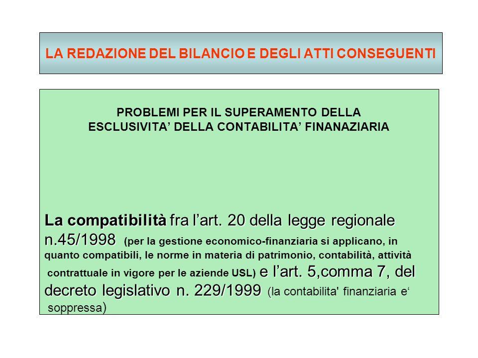 LA REDAZIONE DEL BILANCIO E DEGLI ATTI CONSEGUENTI PROBLEMI PER IL SUPERAMENTO DELLA ESCLUSIVITA DELLA CONTABILITA FINANAZIARIA La compatibilità fra lart.