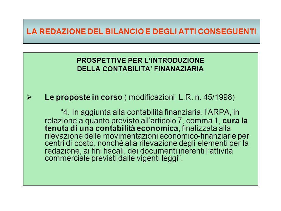 LA REDAZIONE DEL BILANCIO E DEGLI ATTI CONSEGUENTI PROSPETTIVE PER LINTRODUZIONE DELLA CONTABILITA FINANAZIARIA Le proposte in corso ( modificazioni L.R.