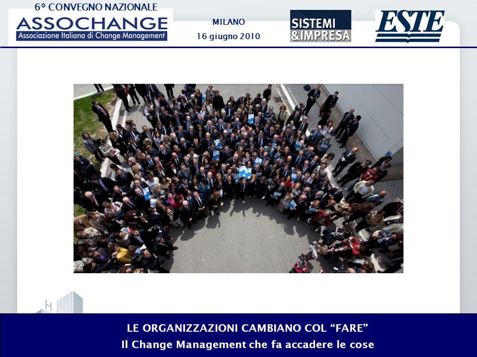 6° CONVEGNO NAZIONALE MILANO 16 giugno 2010 LE ORGANIZZAZIONI CAMBIANO COL FARE Il Change Management che fa accadere le cose