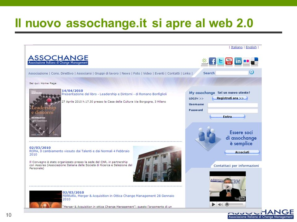 10 Il nuovo assochange.it si apre al web 2.0