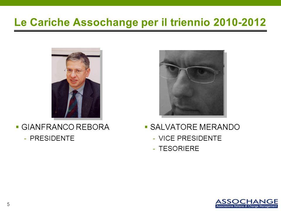 5 Le Cariche Assochange per il triennio 2010-2012 GIANFRANCO REBORA -PRESIDENTE SALVATORE MERANDO -VICE PRESIDENTE -TESORIERE
