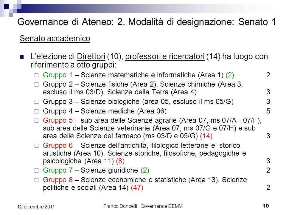 Franco Donzelli - Governance DEMM10 12 dicembre 2011 Governance di Ateneo: 2. Modalità di designazione: Senato 1 Senato accademico Lelezione di Dirett
