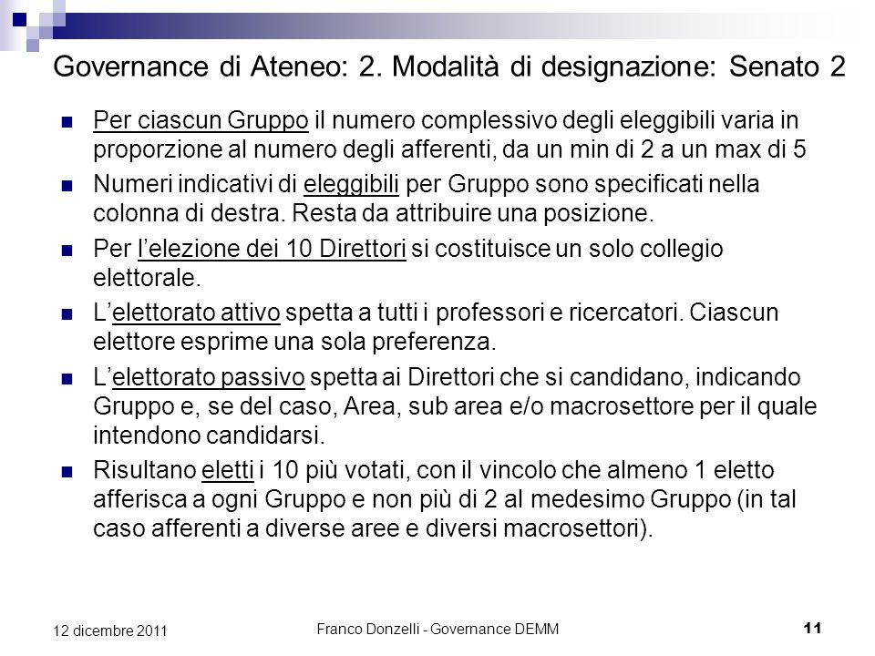 Franco Donzelli - Governance DEMM11 12 dicembre 2011 Governance di Ateneo: 2. Modalità di designazione: Senato 2 Per ciascun Gruppo il numero compless