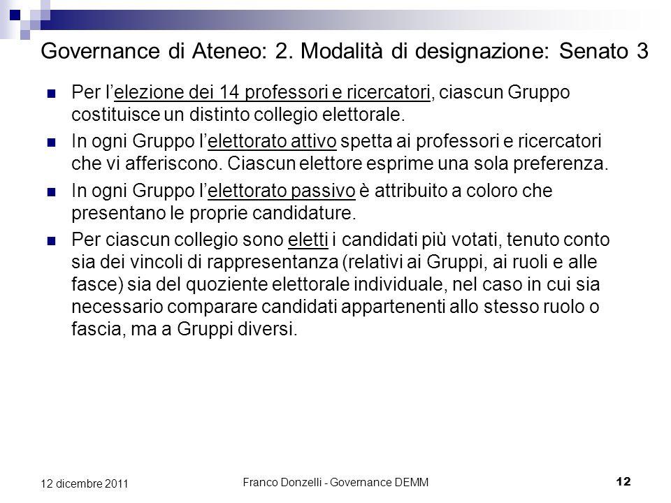 Franco Donzelli - Governance DEMM12 12 dicembre 2011 Governance di Ateneo: 2. Modalità di designazione: Senato 3 Per lelezione dei 14 professori e ric