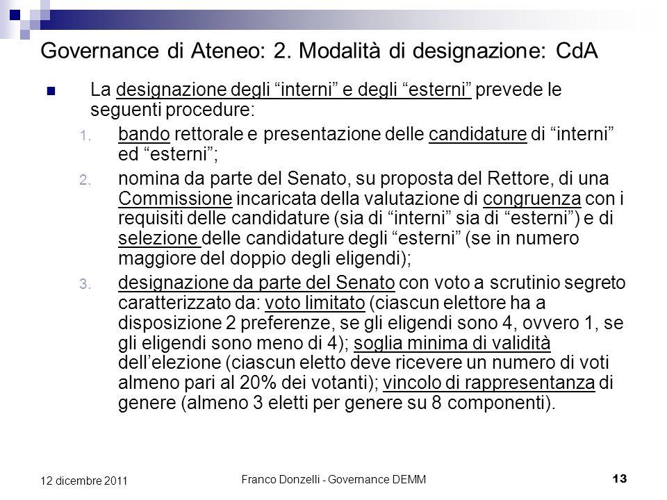 Franco Donzelli - Governance DEMM13 12 dicembre 2011 Governance di Ateneo: 2. Modalità di designazione: CdA La designazione degli interni e degli este