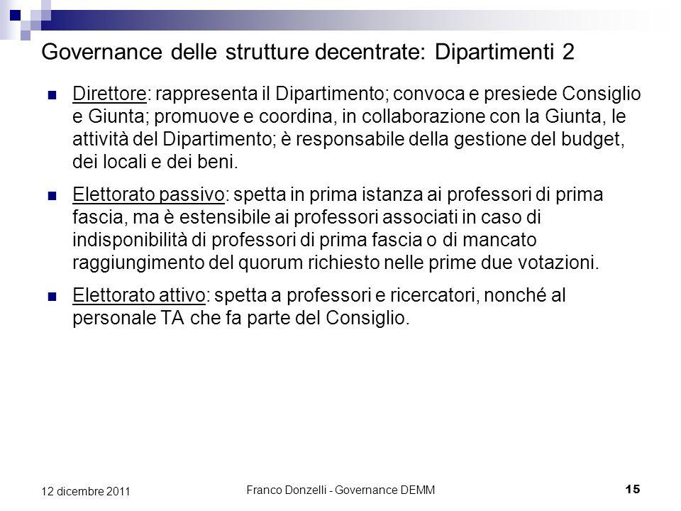 Franco Donzelli - Governance DEMM15 12 dicembre 2011 Governance delle strutture decentrate: Dipartimenti 2 Direttore: rappresenta il Dipartimento; con