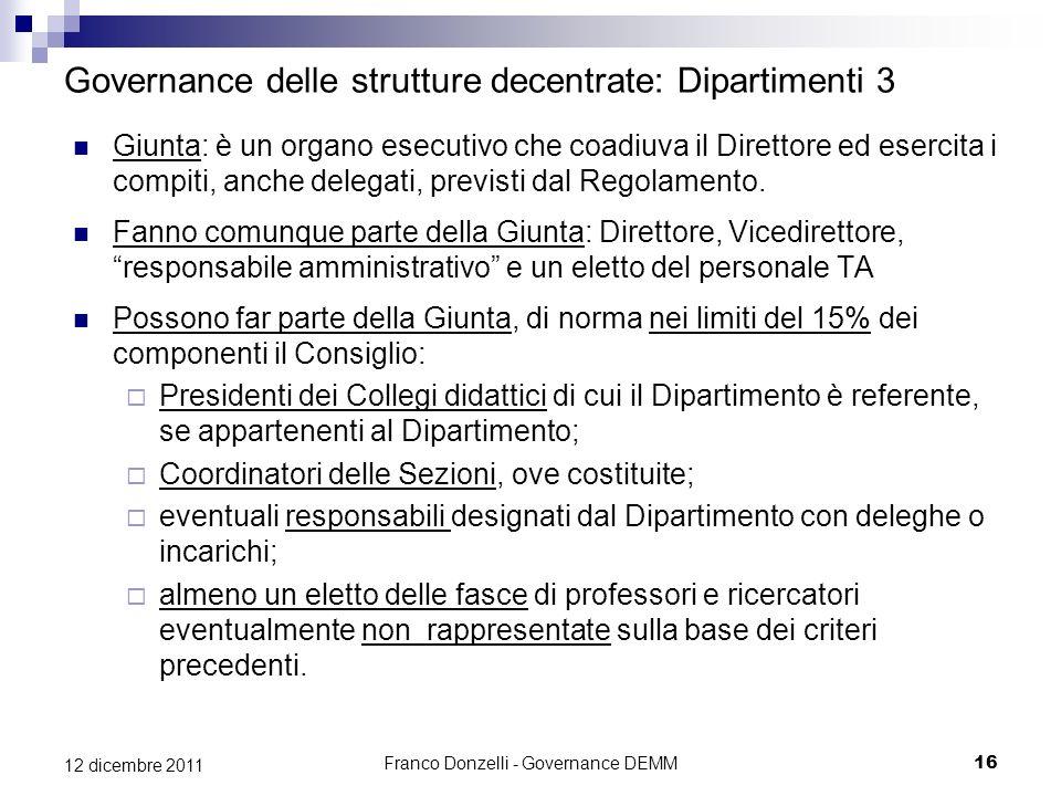 Franco Donzelli - Governance DEMM16 12 dicembre 2011 Governance delle strutture decentrate: Dipartimenti 3 Giunta: è un organo esecutivo che coadiuva