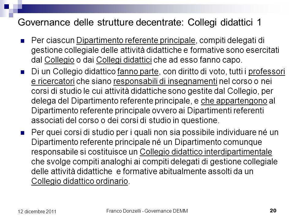 Franco Donzelli - Governance DEMM20 12 dicembre 2011 Governance delle strutture decentrate: Collegi didattici 1 Per ciascun Dipartimento referente pri