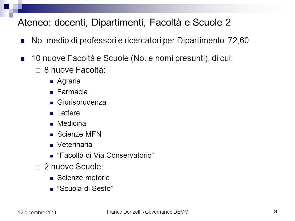 Franco Donzelli - Governance DEMM3 12 dicembre 2011 Ateneo: docenti, Dipartimenti, Facoltà e Scuole 2 No. medio di professori e ricercatori per Dipart