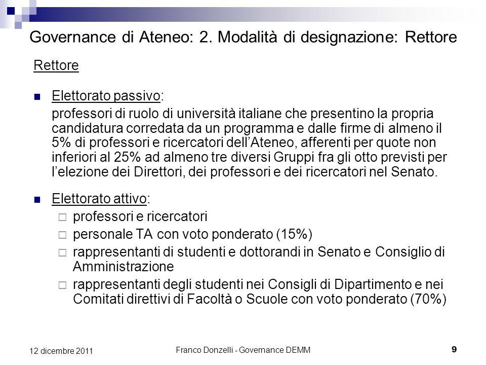 Franco Donzelli - Governance DEMM9 12 dicembre 2011 Governance di Ateneo: 2. Modalità di designazione: Rettore Rettore Elettorato passivo: professori