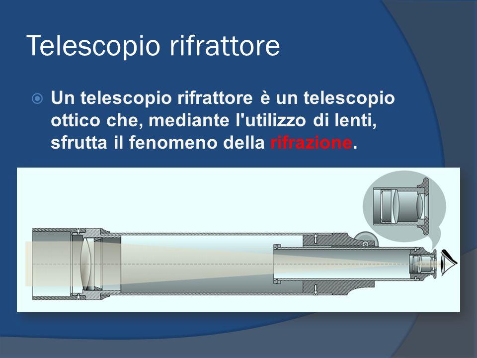 Telescopio rifrattore Un telescopio rifrattore è un telescopio ottico che, mediante l'utilizzo di lenti, sfrutta il fenomeno della rifrazione.