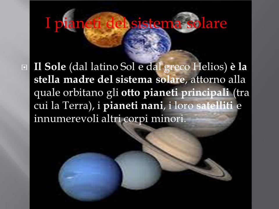 Il Sole (dal latino Sol e dal greco Helios) è la stella madre del sistema solare, attorno alla quale orbitano gli otto pianeti principali (tra cui la