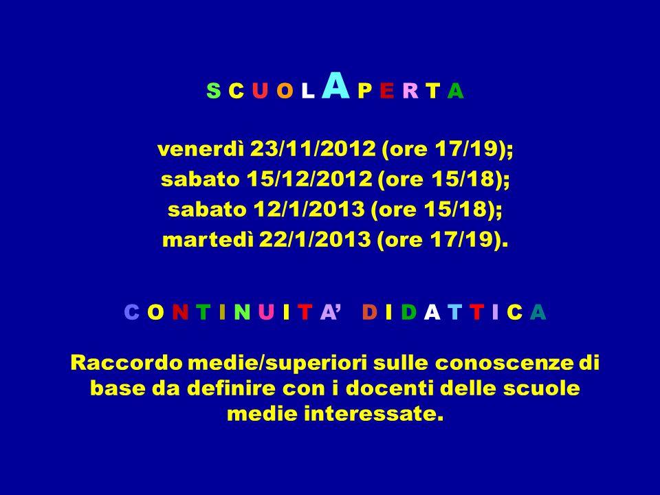 S C U O L A P E R T A venerdì 23/11/2012 (ore 17/19); sabato 15/12/2012 (ore 15/18); sabato 12/1/2013 (ore 15/18); martedì 22/1/2013 (ore 17/19). C O