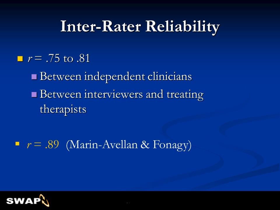 Inter-Rater Reliability r =.75 to.81 r =.75 to.81 Between independent clinicians Between independent clinicians Between interviewers and treating ther