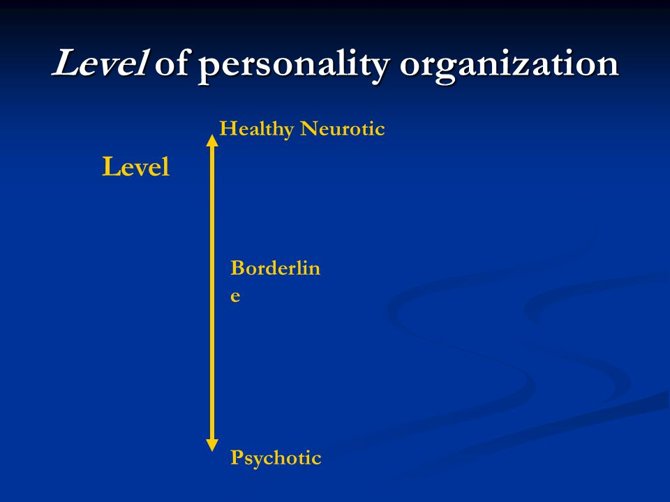 Healthy Neurotic Psychotic Borderlin e Level of personality organization Level