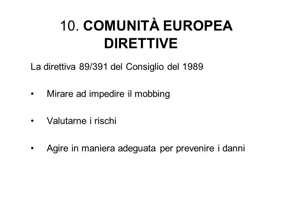 10. COMUNITÀ EUROPEA DIRETTIVE La direttiva 89/391 del Consiglio del 1989 Mirare ad impedire il mobbing Valutarne i rischi Agire in maniera adeguata p