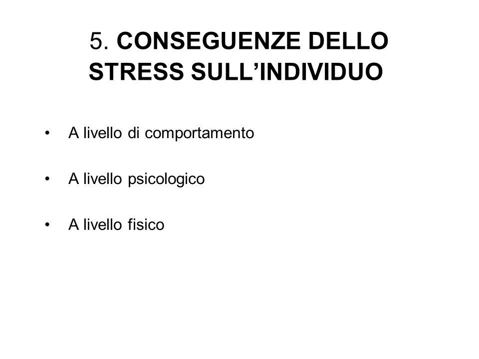 5. CONSEGUENZE DELLO STRESS SULLINDIVIDUO A livello di comportamento A livello psicologico A livello fisico