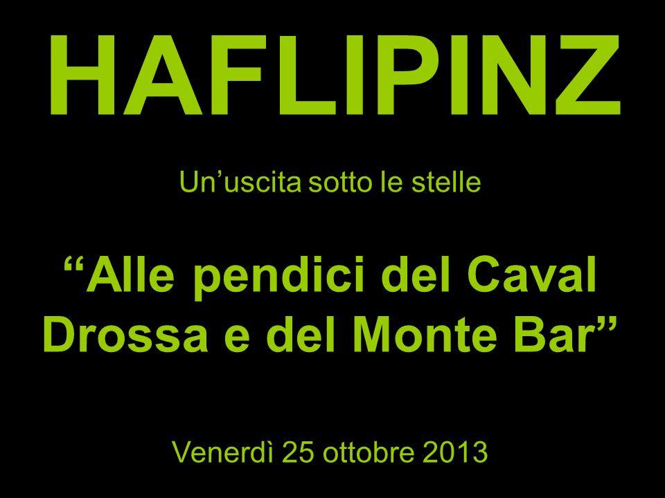 HAFLIPINZ Unuscita sotto le stelle Alle pendici del Caval Drossa e del Monte Bar Venerdì 25 ottobre 2013