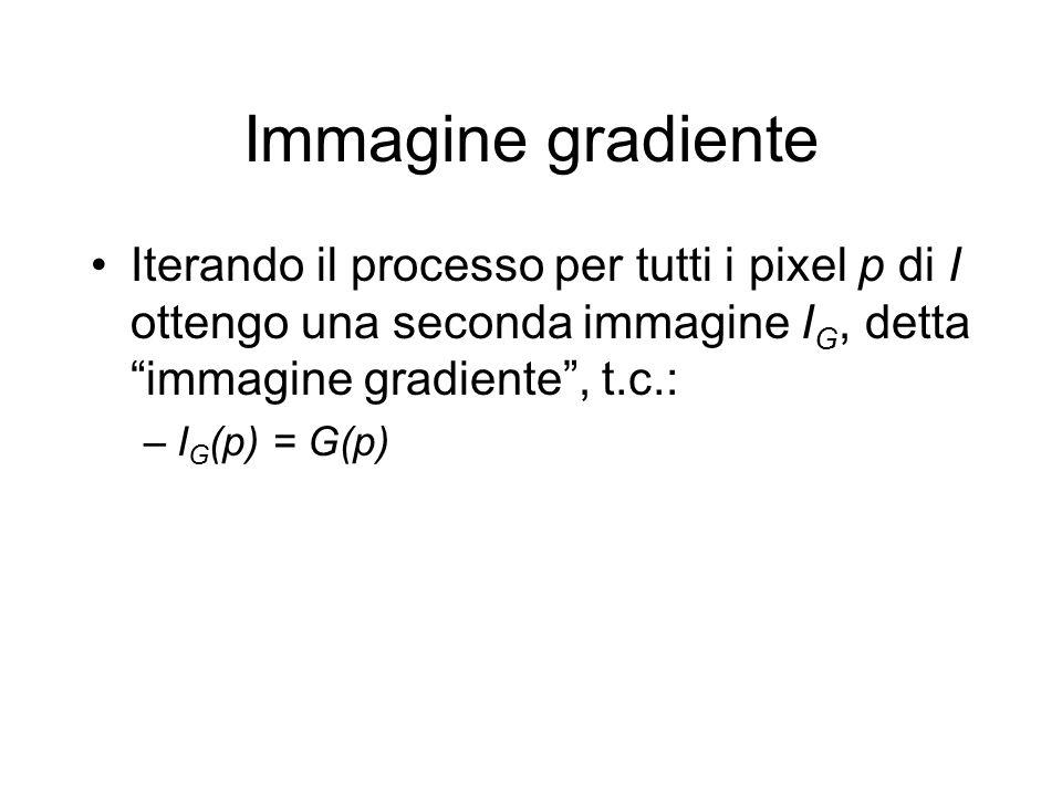 Immagine gradiente Iterando il processo per tutti i pixel p di I ottengo una seconda immagine I G, detta immagine gradiente, t.c.: –I G (p) = G(p)