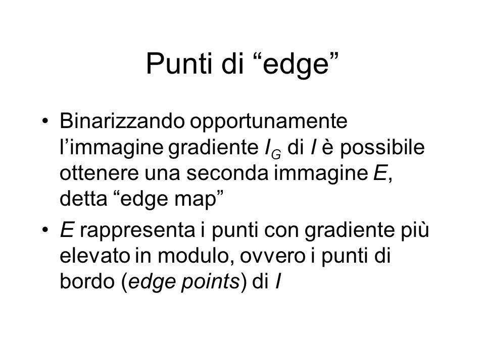 Punti di edge Binarizzando opportunamente limmagine gradiente I G di I è possibile ottenere una seconda immagine E, detta edge map E rappresenta i punti con gradiente più elevato in modulo, ovvero i punti di bordo (edge points) di I