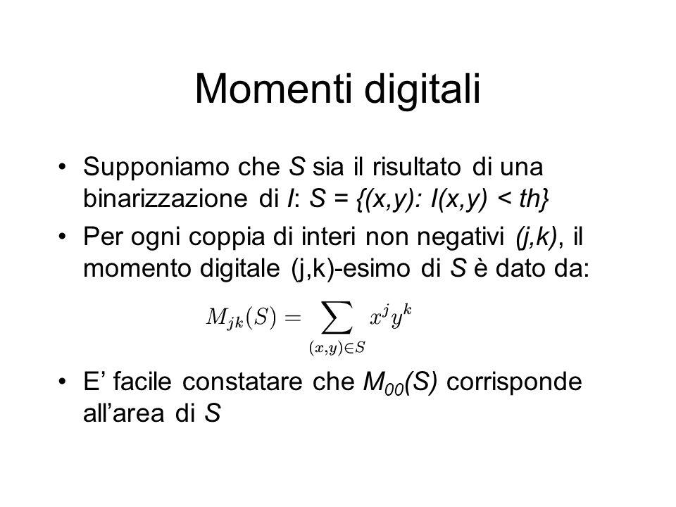Momenti digitali Supponiamo che S sia il risultato di una binarizzazione di I: S = {(x,y): I(x,y) < th} Per ogni coppia di interi non negativi (j,k), il momento digitale (j,k)-esimo di S è dato da: E facile constatare che M 00 (S) corrisponde allarea di S