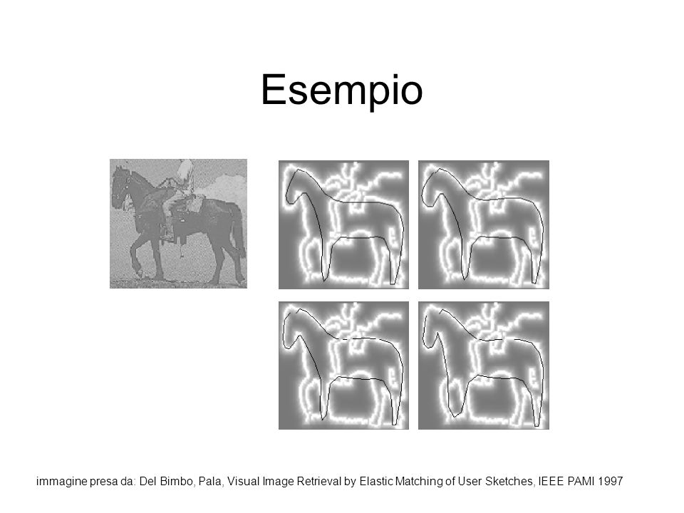 Esempio immagine presa da: Del Bimbo, Pala, Visual Image Retrieval by Elastic Matching of User Sketches, IEEE PAMI 1997