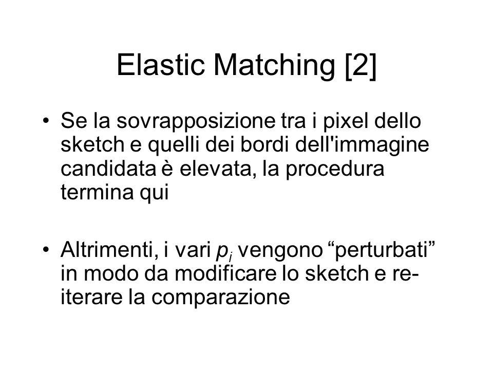 Elastic Matching [2] Se la sovrapposizione tra i pixel dello sketch e quelli dei bordi dell immagine candidata è elevata, la procedura termina qui Altrimenti, i vari p i vengono perturbati in modo da modificare lo sketch e re- iterare la comparazione