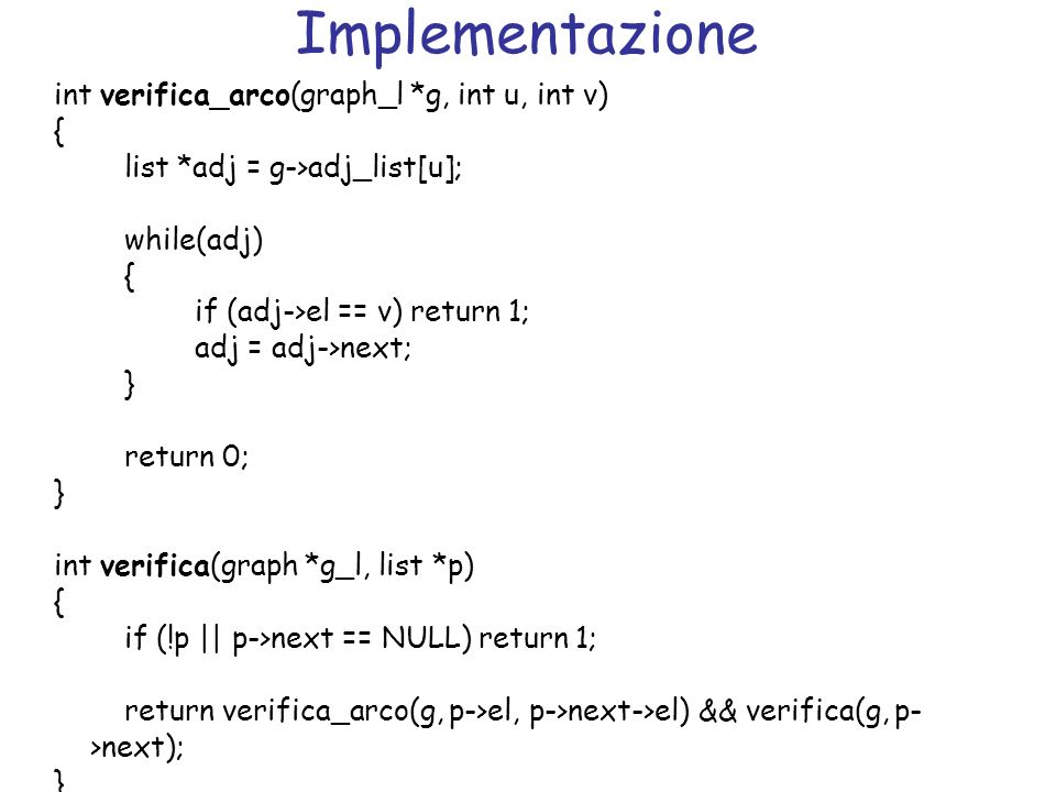 Implementazione int verifica_arco(graph_l *g, int u, int v) { list *adj = g->adj_list[u]; while(adj) { if (adj->el == v) return 1; adj = adj->next; }