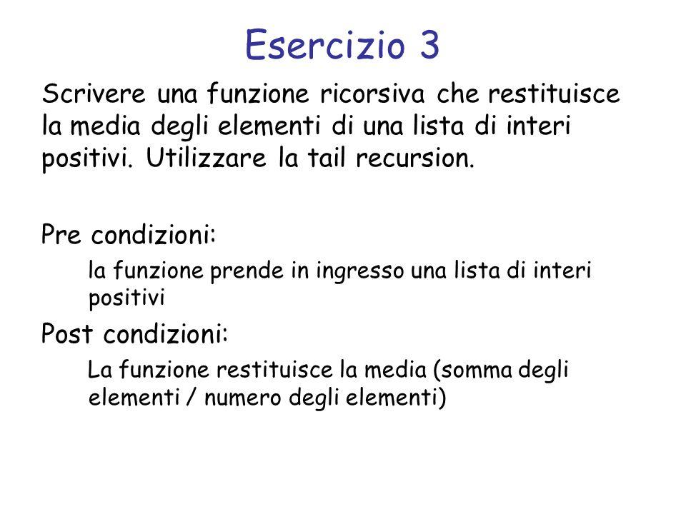 Svolgimento int avg(struct list *l, int somma, int n) { if (l == NULL) return somma/n; somma += l->el; n++; return avg(l->next, somma, n); } int avg_tr(struct list *l) { return avg(l, 0, 0); }