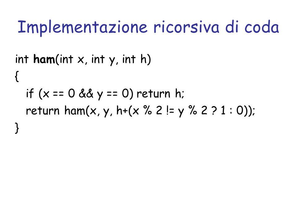 Implementazione ricorsiva di coda int ham(int x, int y, int h) { if (x == 0 && y == 0) return h; return ham(x, y, h+(x % 2 != y % 2 ? 1 : 0)); }