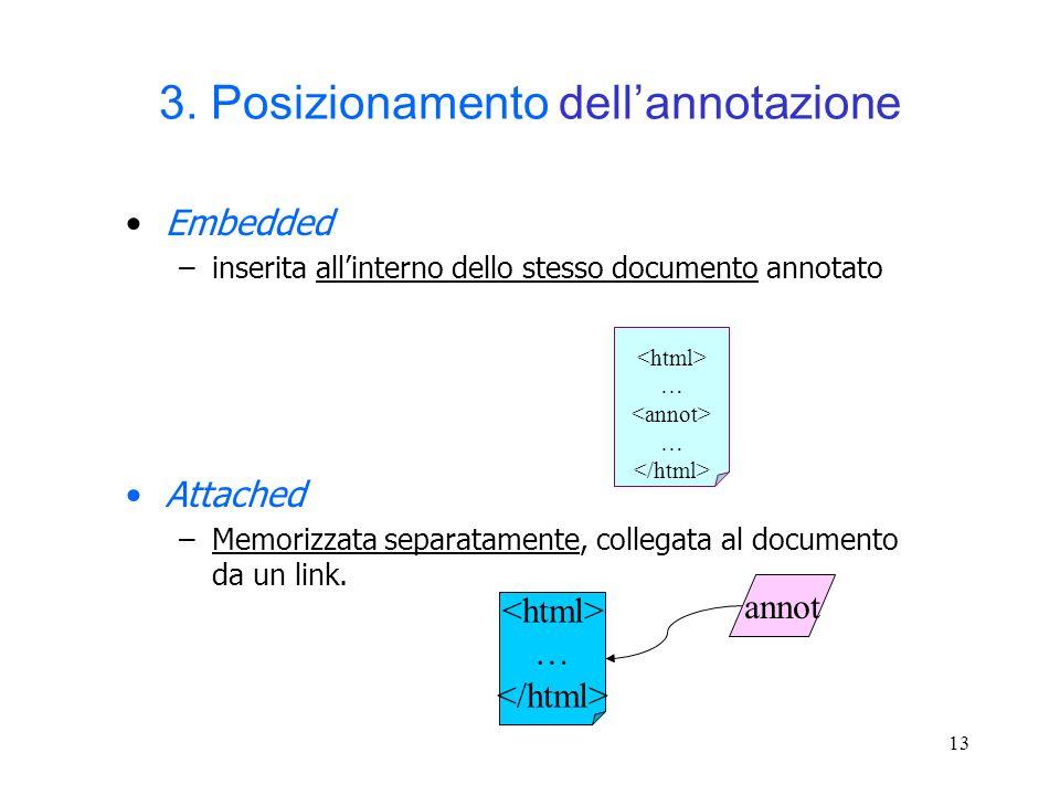 13 3. Posizionamento dellannotazione Embedded –inserita allinterno dello stesso documento annotato Attached –Memorizzata separatamente, collegata al d
