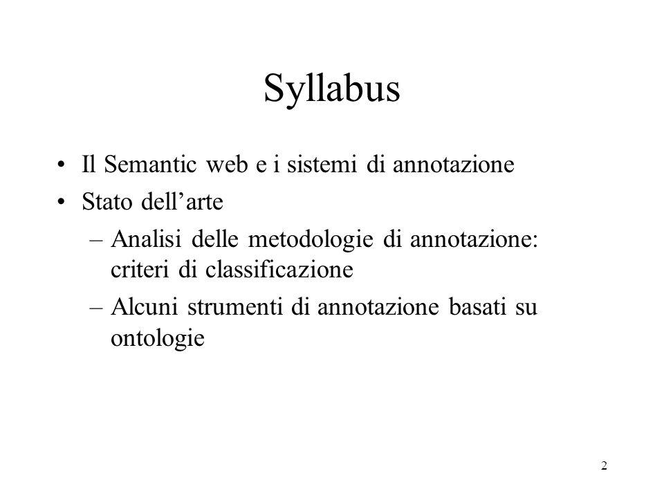2 Syllabus Il Semantic web e i sistemi di annotazione Stato dellarte –Analisi delle metodologie di annotazione: criteri di classificazione –Alcuni str