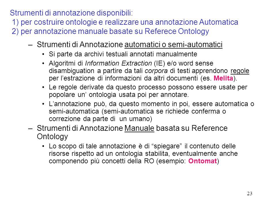 23 Strumenti di annotazione disponibili: 1) per costruire ontologie e realizzare una annotazione Automatica 2) per annotazione manuale basate su Refer